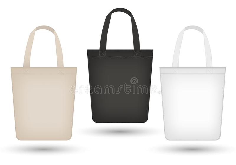 现实大手提袋集合 3d织品,帆布,购物的大袋请求汇集黑色,米黄 背景查出的白色 库存例证