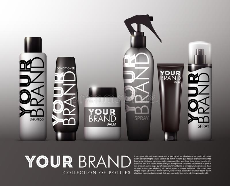 现实头发化妆品产品集 向量例证