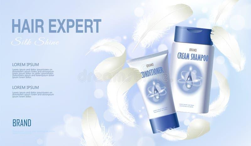 现实头发香波调节剂 管容器化妆轻的背景蓝色晴朗的天空春天胆怯 3d 皇族释放例证