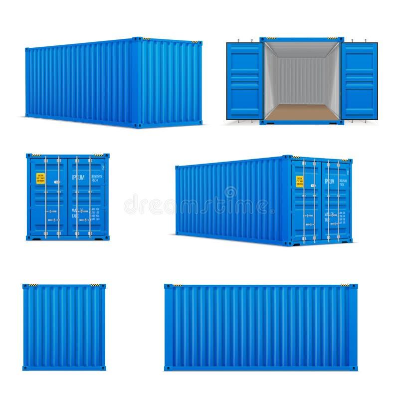 现实套明亮的蓝色货箱 前面、旁边后面和透视图 皇族释放例证