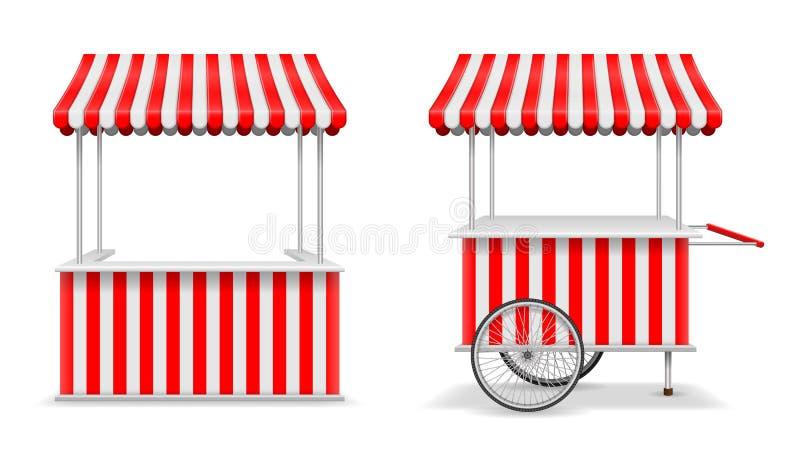现实套街道食物报亭和推车有轮子的 流动红色市场摊位模板 农夫报亭商店大模型 向量例证