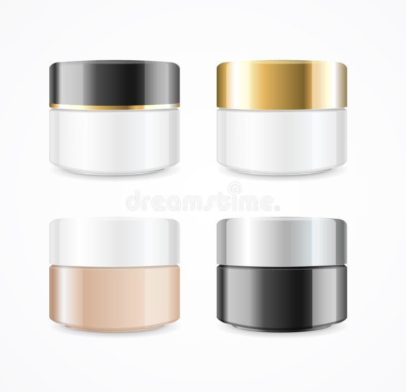 现实奶油能化妆产品集 向量 皇族释放例证
