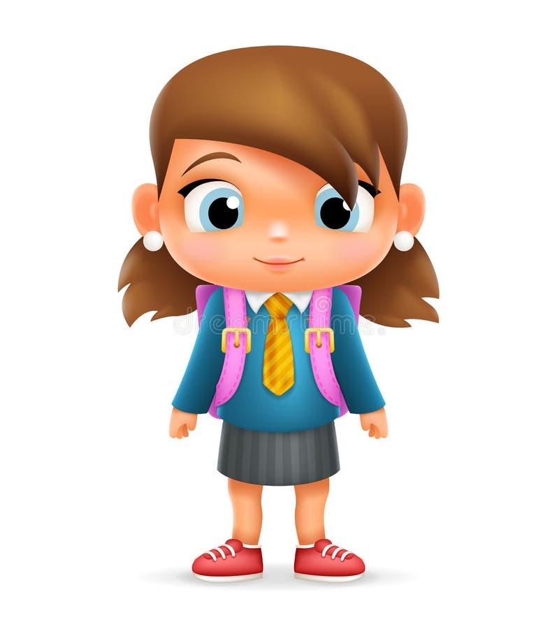 现实学校女孩儿童动画片教育字符 向量例证
