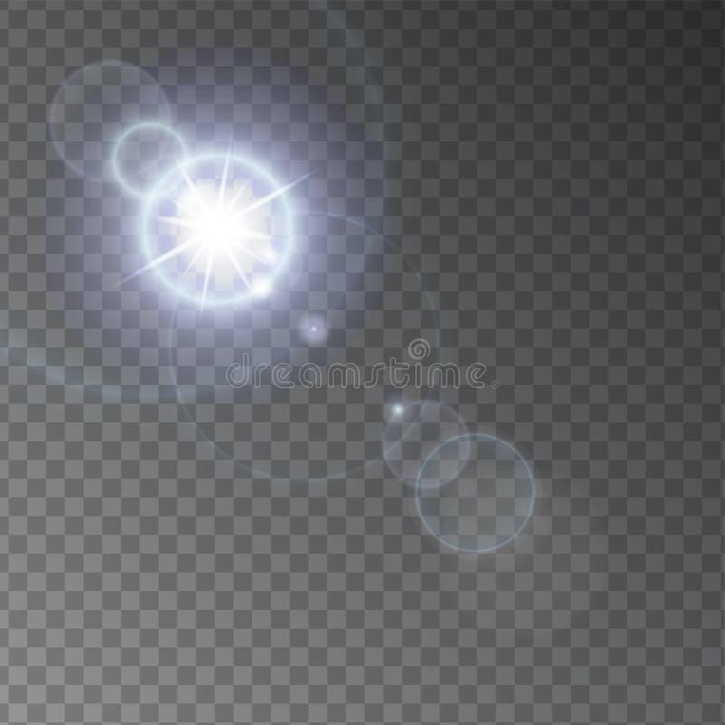 现实对transperent背景的透镜火光光线影响 与光芒和聚光灯的发光的阳光作用闪光 皇族释放例证