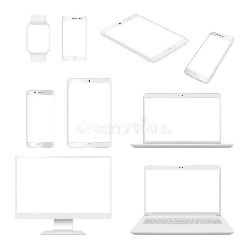 现实小配件 显示器智能手机膝上型计算机和片剂空白笔记本传染媒介大模型计算机设备 库存例证