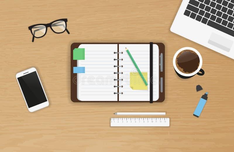 现实工作书桌组织顶视图 向量例证