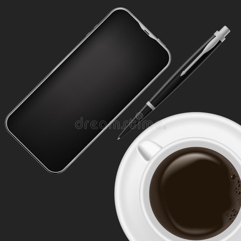 现实工作场所组织 与黑桌、笔、咖啡杯和电话的顶视图 库存例证