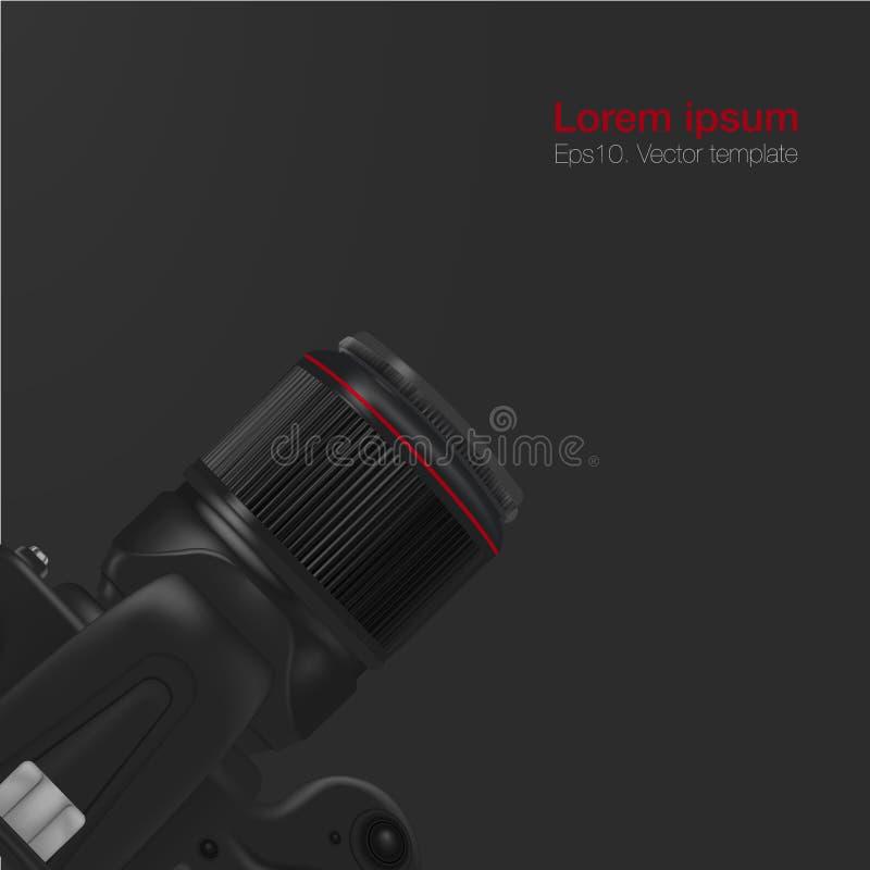 现实工作场所组织 与黑桌和DSLR专业照相机的顶视图 皇族释放例证