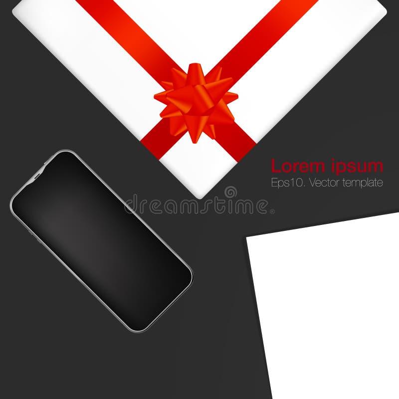 现实工作场所组织 顶视图有白色背景、电话、标记和礼物盒 库存例证