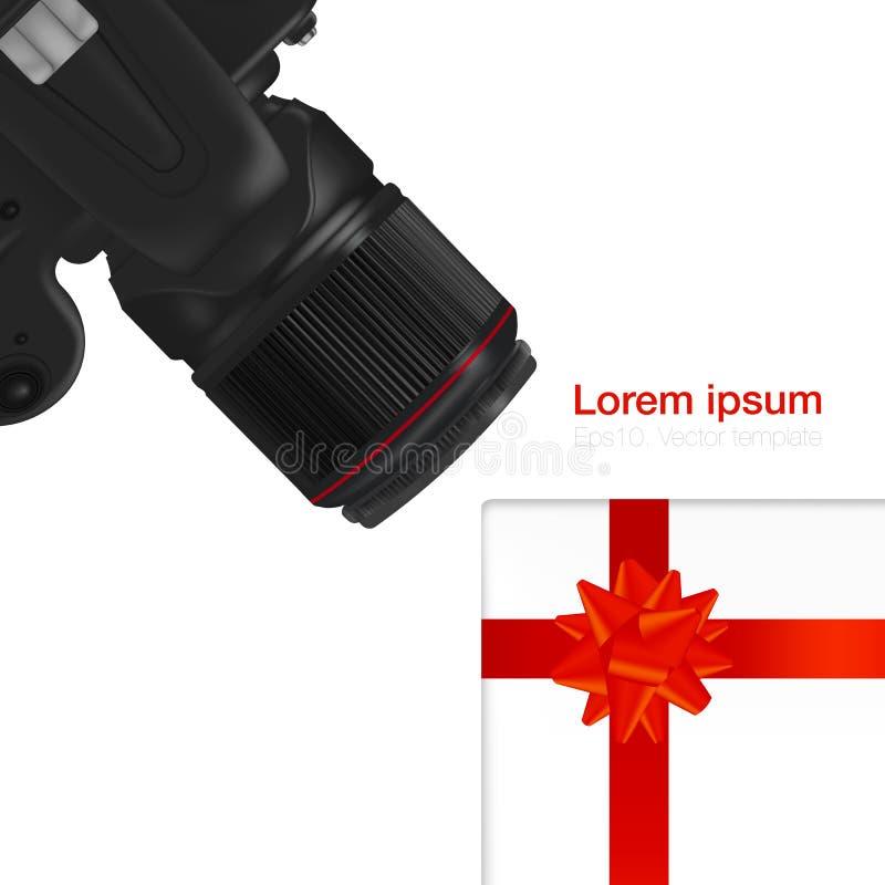现实工作场所组织 顶视图有白色背景、DSLR专业照相机和礼物盒 库存例证