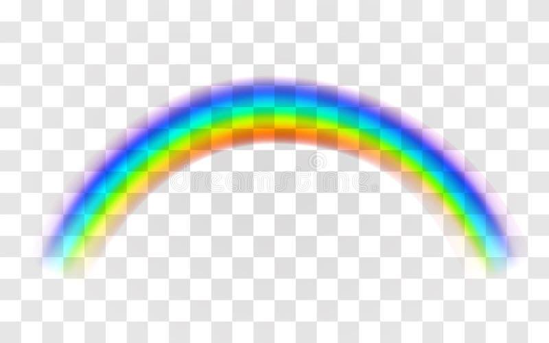 现实彩虹 在透明背景的抽象五颜六色的彩虹模板 皇族释放例证