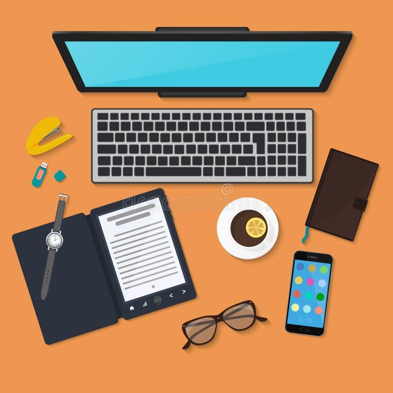 现实技术工作场所组织 颜色有膝上型计算机的工作书桌顶视图  库存例证
