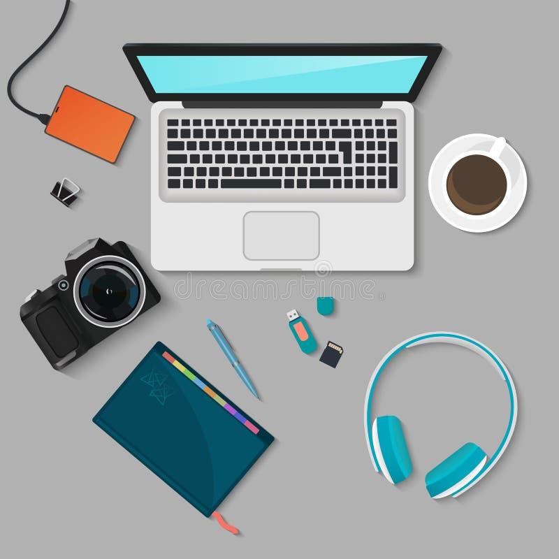 现实技术工作场所组织 颜色有膝上型计算机的,智能手机,个人计算机,日志,玻璃工作书桌顶视图  库存例证