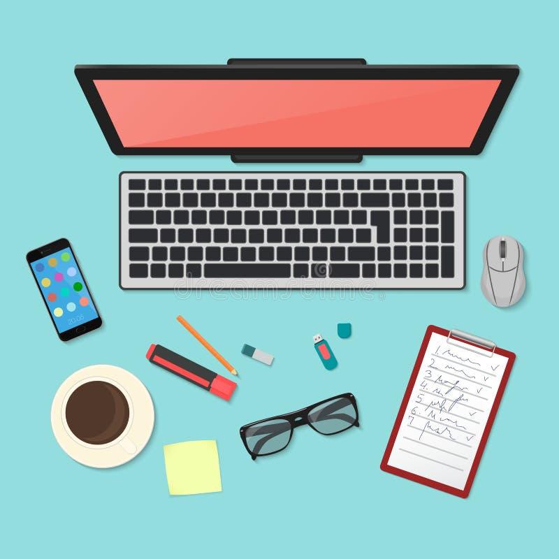 现实技术工作场所组织 颜色有膝上型计算机的,智能手机,片剂个人计算机,日志工作书桌顶视图  向量例证