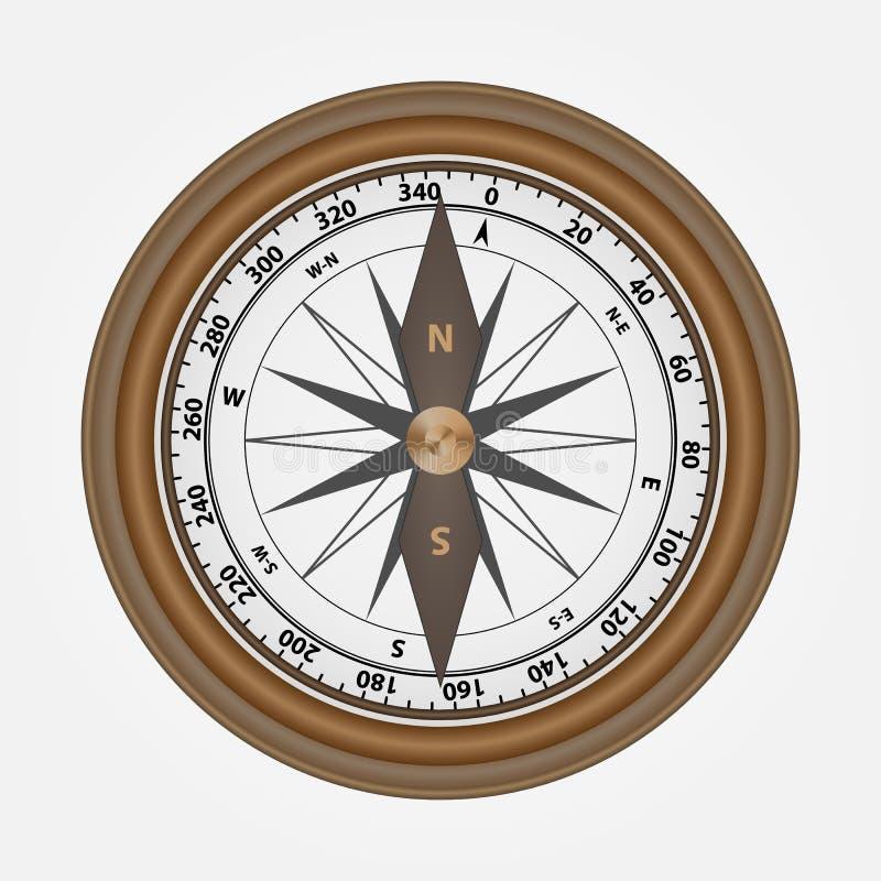 现实指南针由木头制成 皇族释放例证