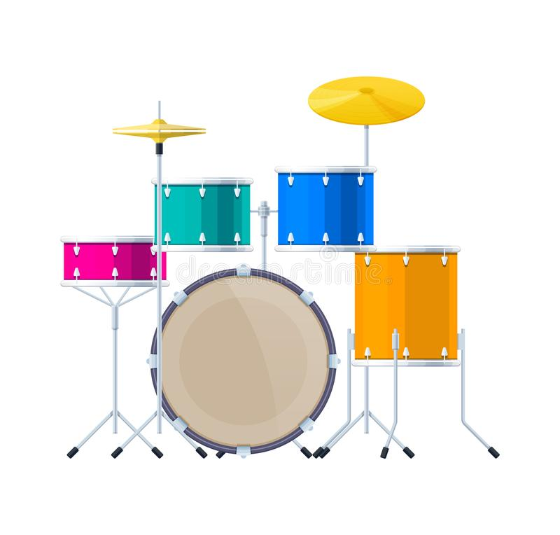 现实撞击声乐器,鼓集合,合理的桶,板材,鞭子 向量例证