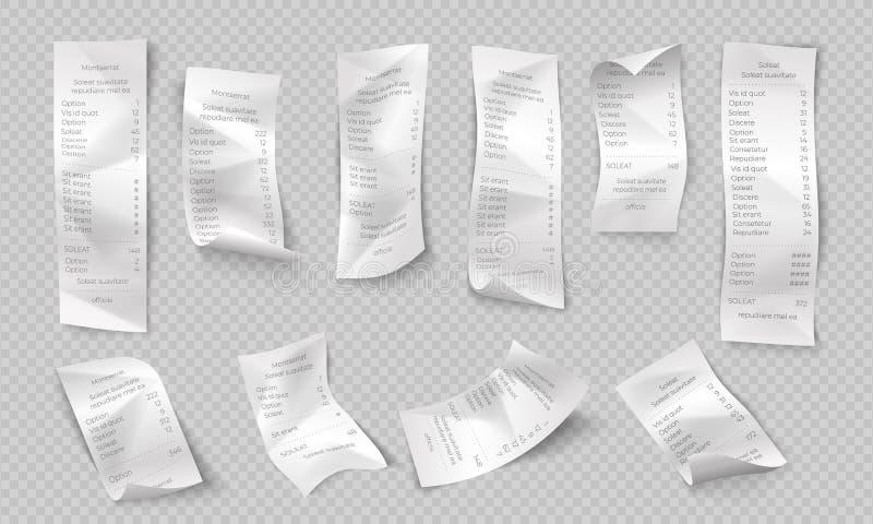现实收据 ATM纸检查、商店和超级市场付款,购买发货票,餐馆票据 传染媒介银行 向量例证