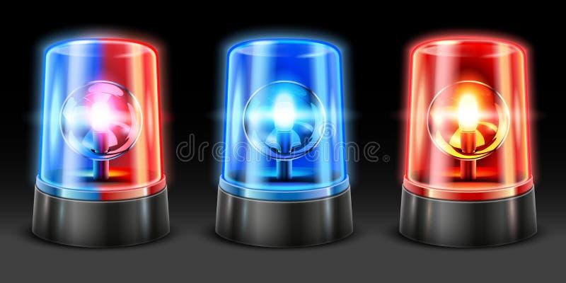 现实救护车闪动 警察轻的敷金属纸条、安全灯和警告的警报器闪光灯 应急灯3D 向量例证