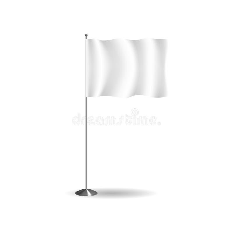 现实旗子、纺织品横幅和广告布局,白色广告立场 向量例证