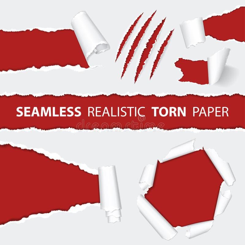 现实无缝的被撕毁的纸和抓痕爪 向量例证