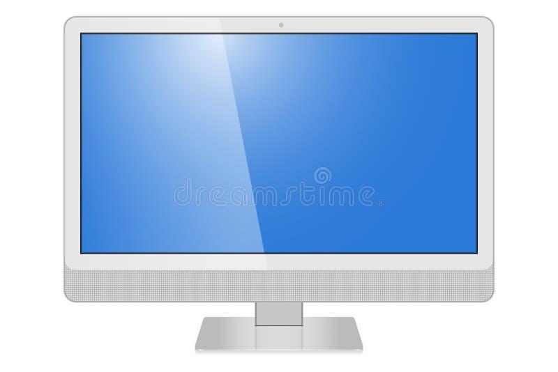 现实显示器计算机IMAC,在白色背景隔绝的电视屏幕 代表您的应用 皇族释放例证