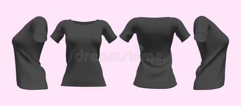 现实有短袖大模型集合的妇女的黑T恤杉 r : 库存例证