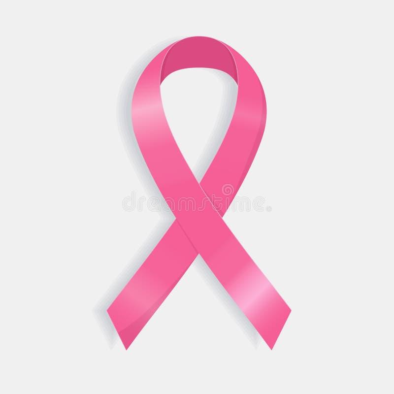 现实桃红色丝带,乳腺癌了悟标志 库存例证
