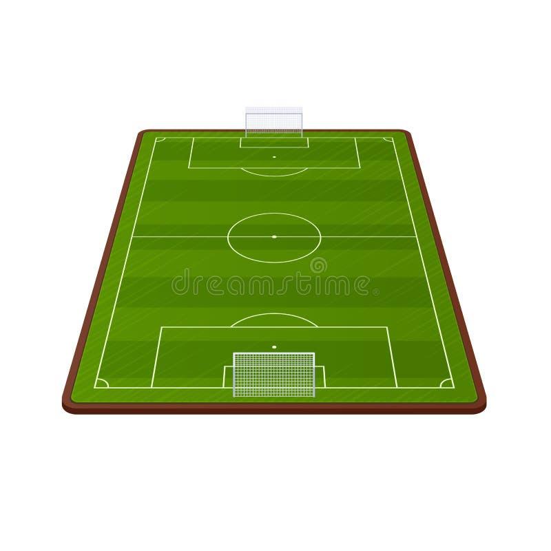 现实橄榄球场模板、操场有绿草的和风景 向量例证