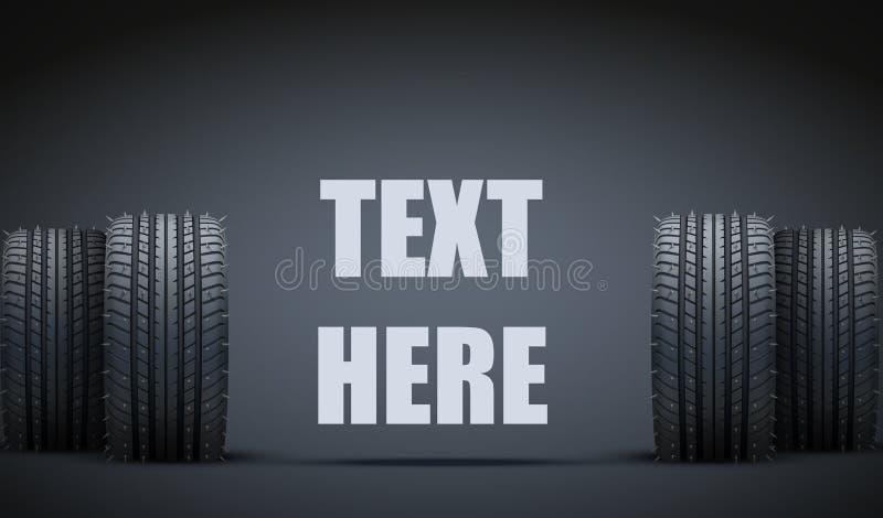 现实橡胶轮胎和钉横幅 向量 库存例证