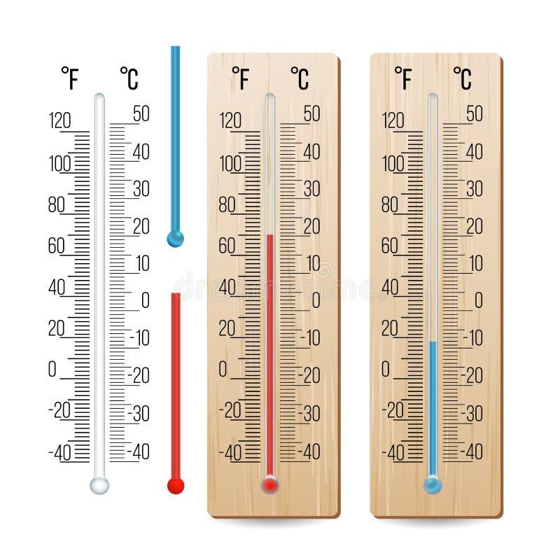 现实气象温度计传染媒介 Rred和蓝色 不同的水平 按钮查出的现有量例证推进s启动妇女 向量例证