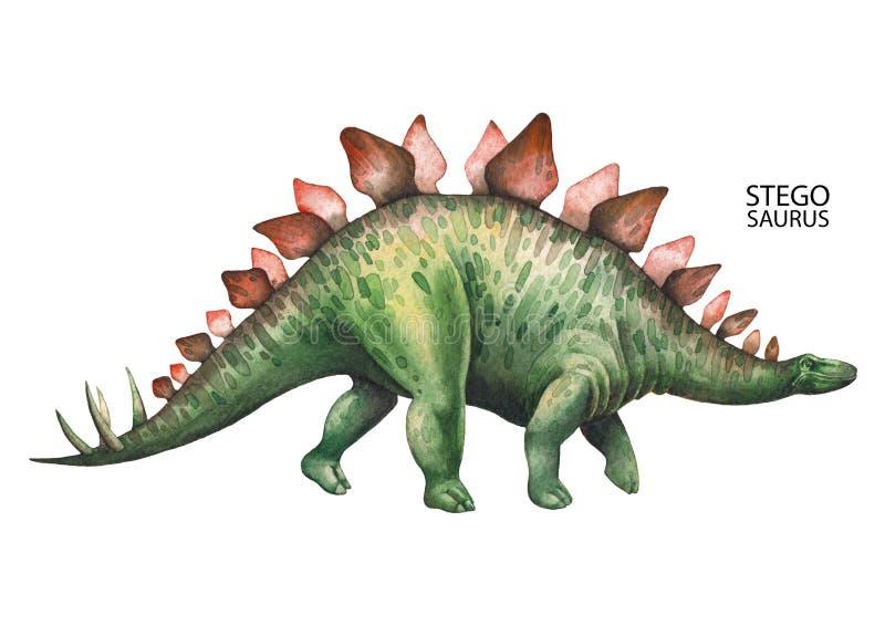现实水彩恐龙 皇族释放例证