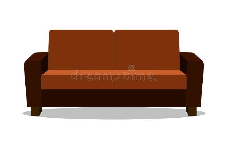 现实沙发现代现实舒适的沙发 平的设计传染媒介例证 库存例证
