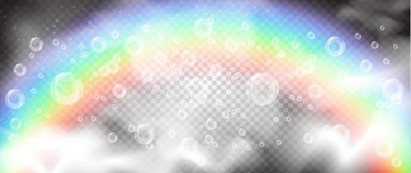 现实泡影和白色烟在一条彩虹和蓝天的背景与云彩 向量例证