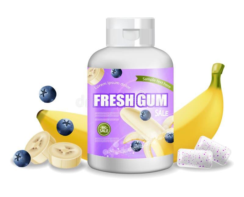 现实泡泡糖的传染媒介 产品安置详细的标签设计 包装的瓶 香蕉和莓果味道 3d 皇族释放例证
