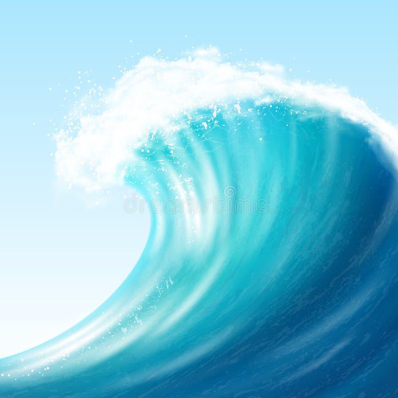 现实海大波浪 向量例证
