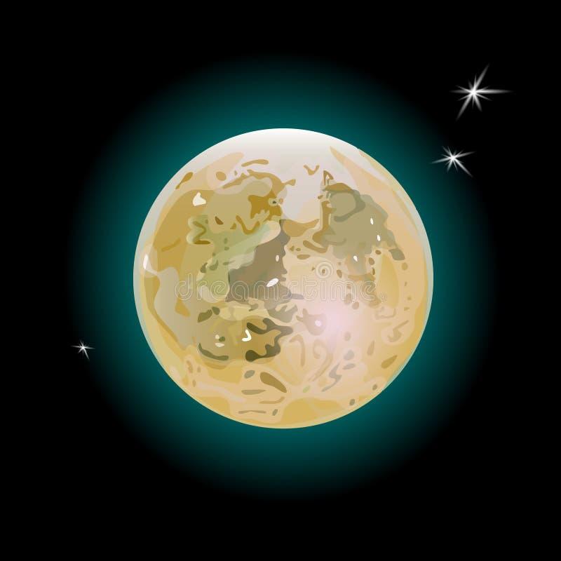 现实满月琥珀色的颜色和三个小的星 也corel凹道例证向量 库存例证