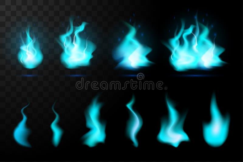 现实火火焰设置了蓝色 皇族释放例证