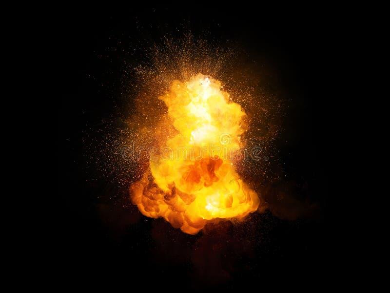 现实火热的与火花和烟的炸弹明亮的爆炸 皇族释放例证
