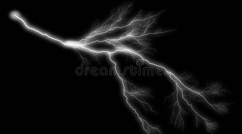 现实照明设备雷电的例证在黑背景的 夏天雷暴 向量例证