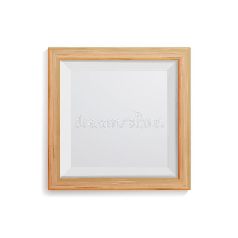 现实照片框架传染媒介 方形的轻的木空白的画框,垂悬在从前面的白色墙壁上 Moc的设计模板 向量例证