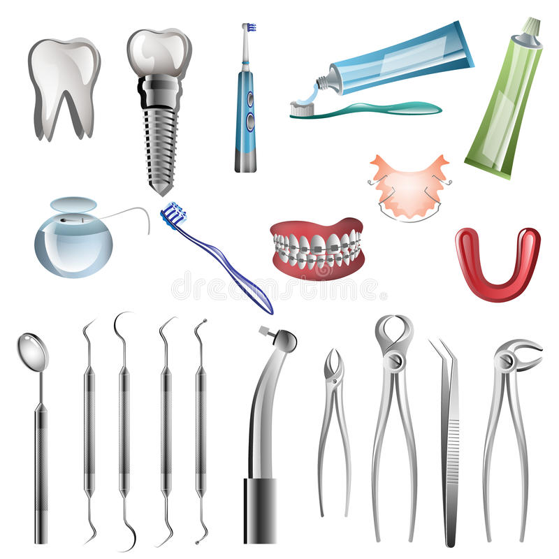 现实牙医工具 向量例证