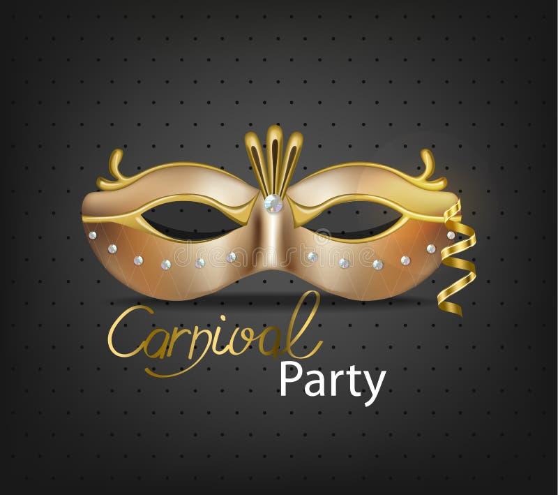 现实狂欢节豪华金黄面具的传染媒介 时髦的化妆舞会党 狂欢节卡片邀请 夜党海报 皇族释放例证