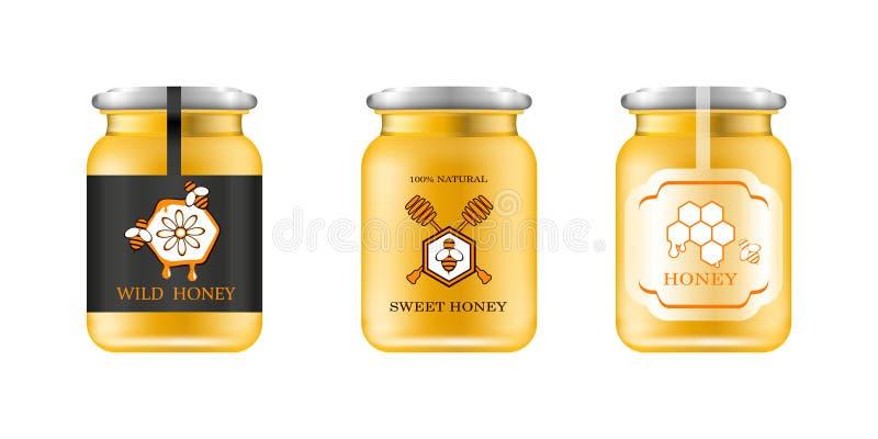 现实玻璃瓶子用蜂蜜 食物储蓄所 蜂蜜成套设计 蜂蜜商标 玻璃瓶子的嘲笑有设计标签的或 向量例证