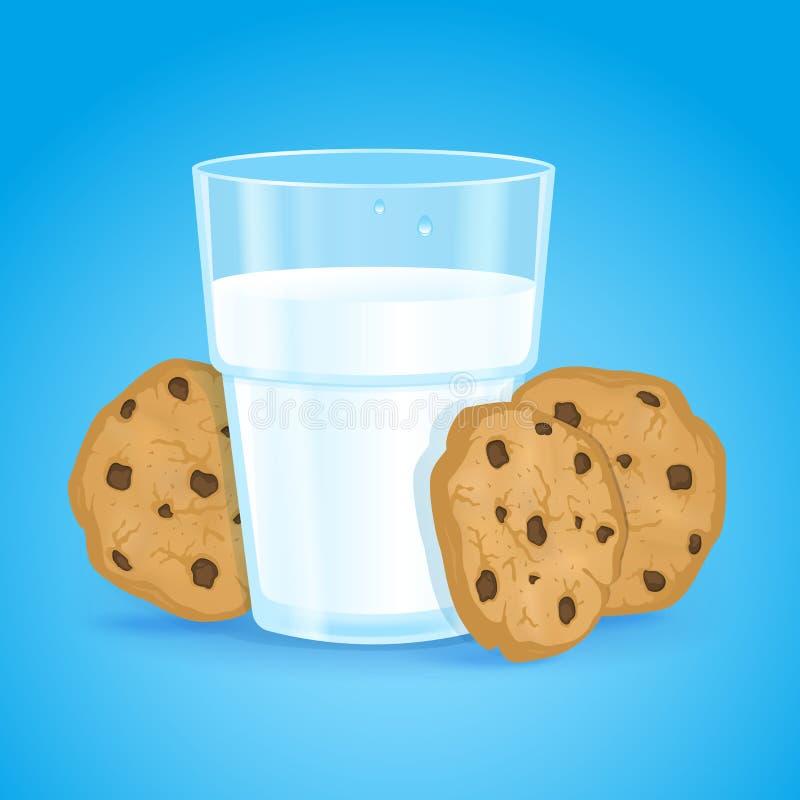 现实玻璃用牛奶和曲奇饼与巧克力片在蓝色背景 新鲜的可口维生素和健康早餐 向量例证