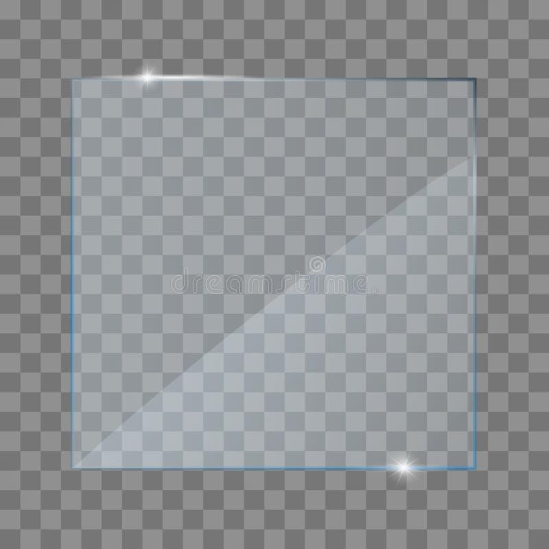 现实玻璃透明板材、正方形,长方形和圆 向量例证