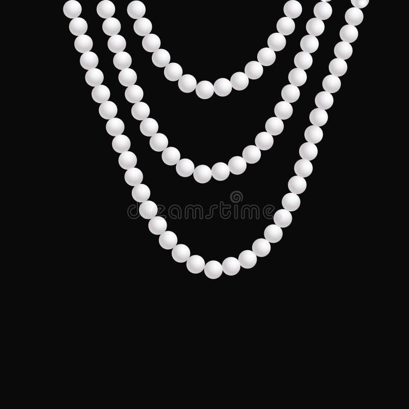 现实珍珠项链在黑暗的背景垂悬 皇族释放例证