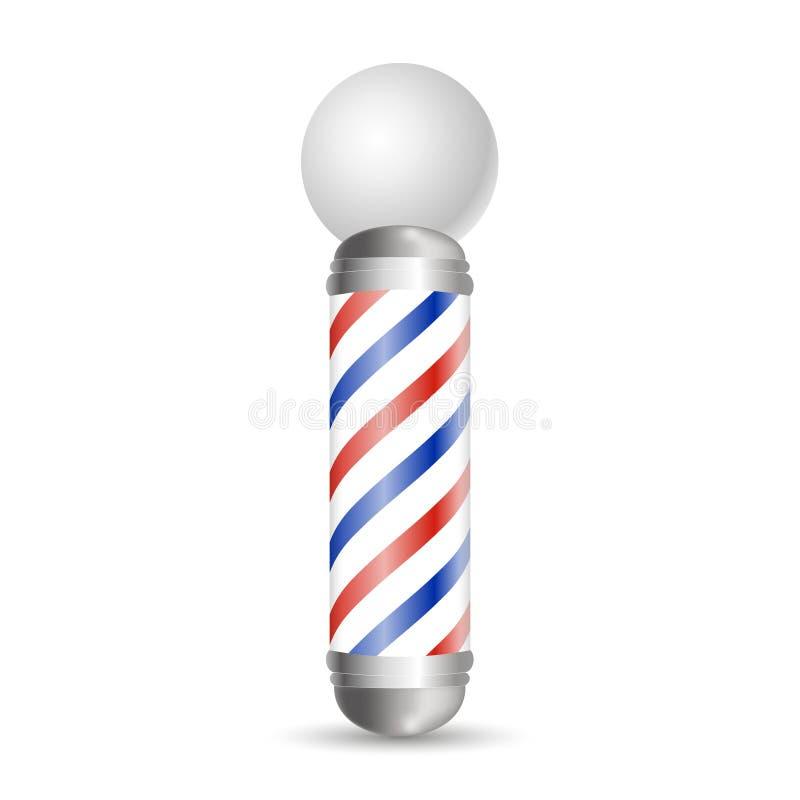 现实理发师杆 玻璃理发店杆 库存例证