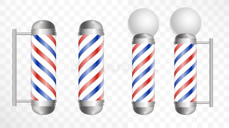 现实理发师杆 玻璃理发店杆 皇族释放例证