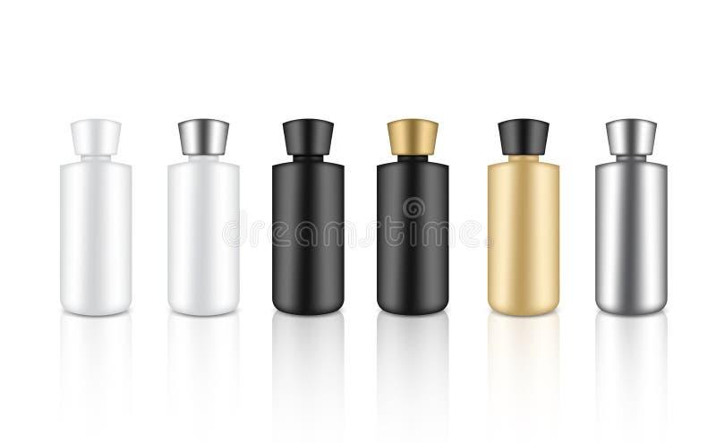 现实瓶金属、金子,被隔绝的黑白塑料封装产品化妆秀丽肥皂的或化妆水豪华的嘲笑 向量例证