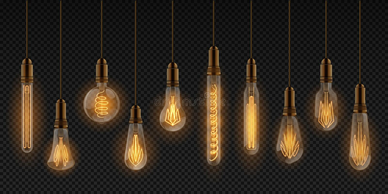 现实电灯泡 电白炽灯,室内装饰元素,垂悬在导线的发光的电灯泡 向量例证